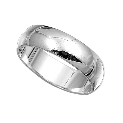 925 Sterling Silver Ring Plain 6mm Wedding Band Jewelry
