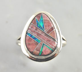 Sterling-Silver-Rhodochrosite-Opal-Inlay-Tear-Drop-Ring-Southwest-925-Jewelry
