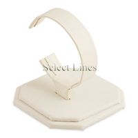 "White Faux Leather 3.5""H Bracelet Watch Display Jewelry Stand Holder"