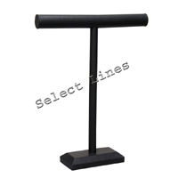 """Black Faux Leather Necklace T-Bar 18""""H Jewelry Holder Display Stand Rack"""