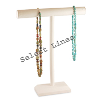 """White Faux Leather Necklace T-Bar 18""""H Jewelry Holder Display Stand Rack"""