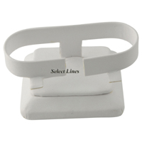 "White Faux Leather 1-1/2""H Bracelet Watch Display Jewelry Stand Holder"