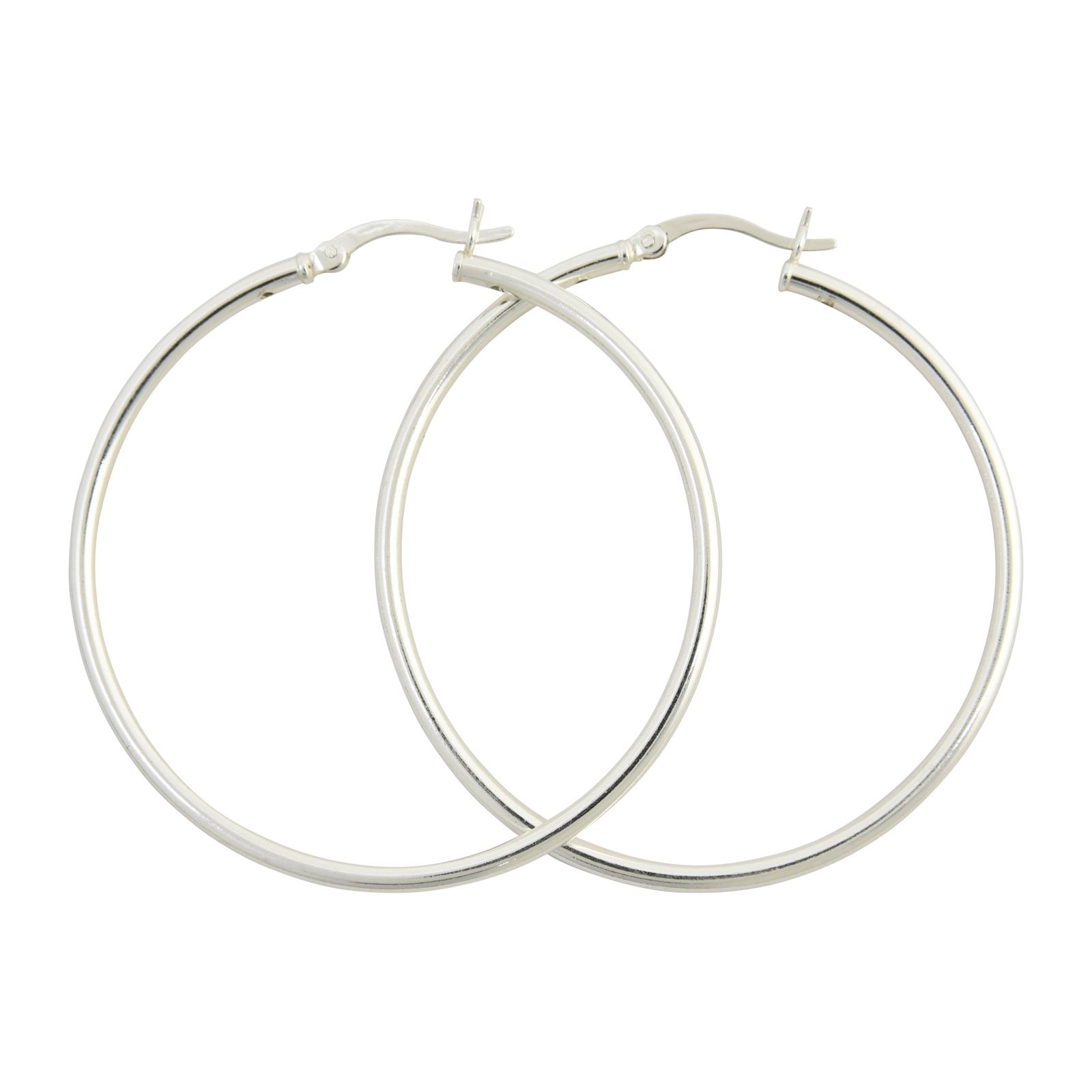 Sterling Silver Hollow Hoop Hinged Earring